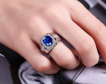 Load image into Gallery viewer, Exquisite 925 Pure Silver Rings 10.25ct Natural Sapphire Business Men's Ring
