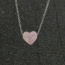 Load image into Gallery viewer, 925 Plated Silver Plated 10mm Opal Love Heart Gemstone Jewelry Pendant Necklace