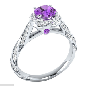 925 Sterling Silver  Round Cut Amethyst Ring