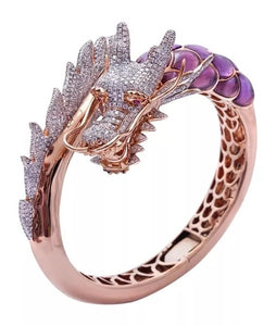 Exquisite 585 Rosen Gold Drachen Damen Ring