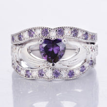 Load image into Gallery viewer, 3 Pcs 925 Sterling Silver Heart Amethyst Ring Set
