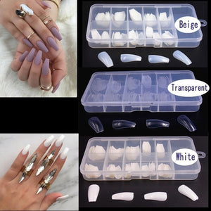 Artificial False Fake Nails Coffin Nails Tips Nail Art Tool Arcylic Package With Box