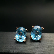 Load image into Gallery viewer, Mystic Topaz Aquamarine Earring Studs Fashion 18K Rose Gold Oval Gemstone