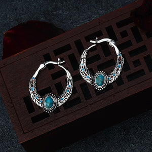 925 Sterling Silver Feather Natural Turquoise Gemstones Earrings