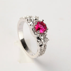 Exquisite 925 Silver Natural Gemstones Ruby Ring