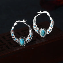 Load image into Gallery viewer, 925 Sterling Silver Feather Natural Turquoise Gemstones Earrings