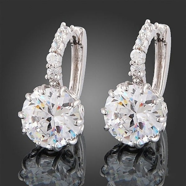 White Gold Filled Cubic Shape Zirconia Elegant Hoop Earrings
