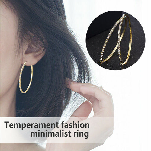 Fashion Crystal Rhinestone Big Circle Earrings Drop Hoop Ear Studs