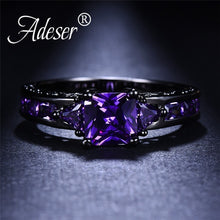 Load image into Gallery viewer, 2.0 Ct Princess Cut Amethyst Purple Crystal Black Gold Ring