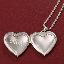 Load image into Gallery viewer, 925 Silver Love Heart Open Pendant Necklace Chain