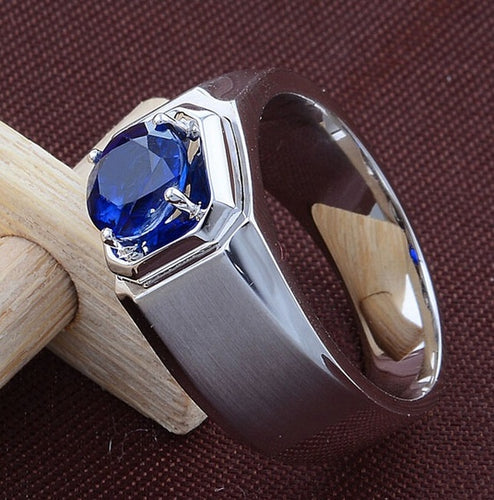 925 Sterling Silver Natural Gemstones Blue Sapphire Men's Ring