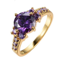 Load image into Gallery viewer, 10Kt Yellow Gold Filled Romantic Purple Amethyst Ring for Woman
