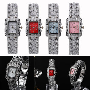 Fashion Girl Women Bracelet Quartz Wrist Watch Silver Butterfly Black Dial