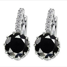 Load image into Gallery viewer, White Gold Filled Cubic Shape Zirconia Elegant Hoop Earrings