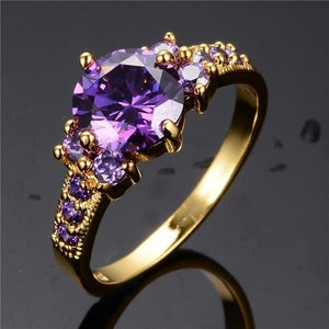 10Kt Yellow Gold Filled Romantic Purple Amethyst Ring for Woman