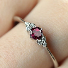 Load image into Gallery viewer, 18k Rose Gold Garnet Ruby 925 Pure Silver Sapphire Ring