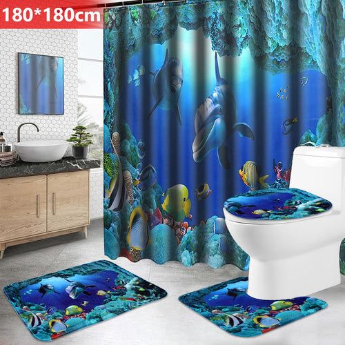 Bathroom Waterproof Shower Curtain Non-Slip Bath Mat Set