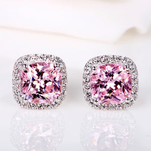 Classic 18K White Gold Prinicess Cut Pink Diamond Stud Earrings
