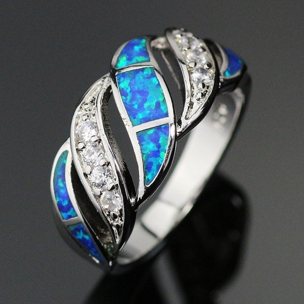 925 Sterling Silver Jewelry Blues Fire Opals White Zircon Ring