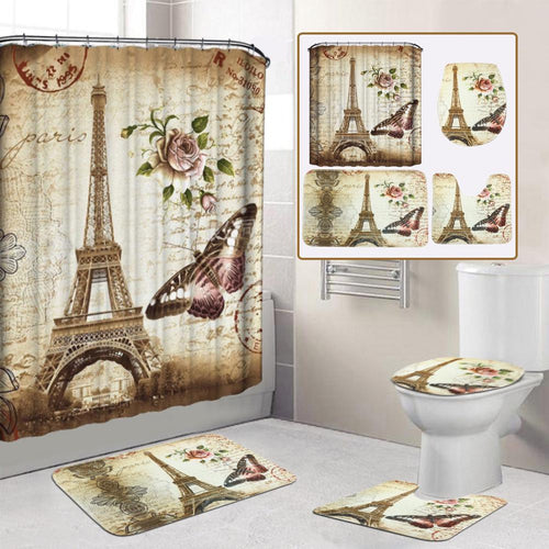 Beautiful Eiffel Tower Paris Print Mildew-proof Waterproof Shower Curtain Non Slip Bathroom Pedestal Rug Toilet Lid Cover Floor Mat