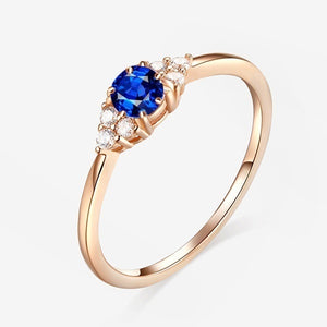 18k Rose Gold Garnet Ruby 925 Pure Silver Sapphire Ring