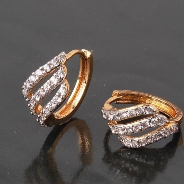 Hollow 18K Gold Platinum Filled White CZ Unique Lady Huggie Earrings