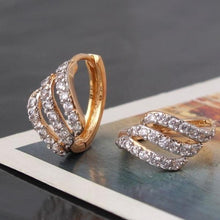 Load image into Gallery viewer, Hollow 18K Gold Platinum Filled White CZ Unique Lady Huggie Earrings