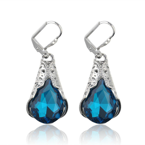 Unique Vintage Silver Blue Sapphire Gem Water Drop  Earrings