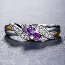 Load image into Gallery viewer, Eleganter 925 Silber Marquise Schliff Amethyst Damen Ring