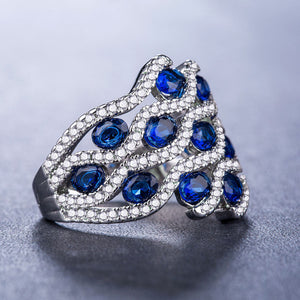 Wonderful 925 Silver Jewelry Gorgeous Oval Cut Blue Sapphire Ring