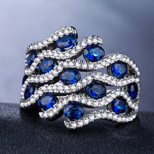 Load image into Gallery viewer, Wonderful 925 Silver Jewelry Gorgeous Oval Cut Blue Sapphire Ring