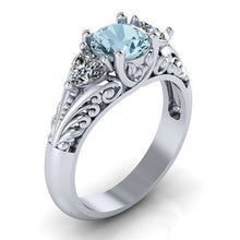 Load image into Gallery viewer, Zauberhafter Aquamarine 925 Sterling Silber Damen Ring