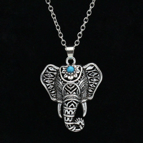 Silver Elephant pendant chain choker Ethnic charm Necklace