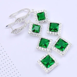 925 Sterling Silver Natural Aquamarine Emerald & White Sapphire Gemstone Stud Hoop Dangle Earrings
