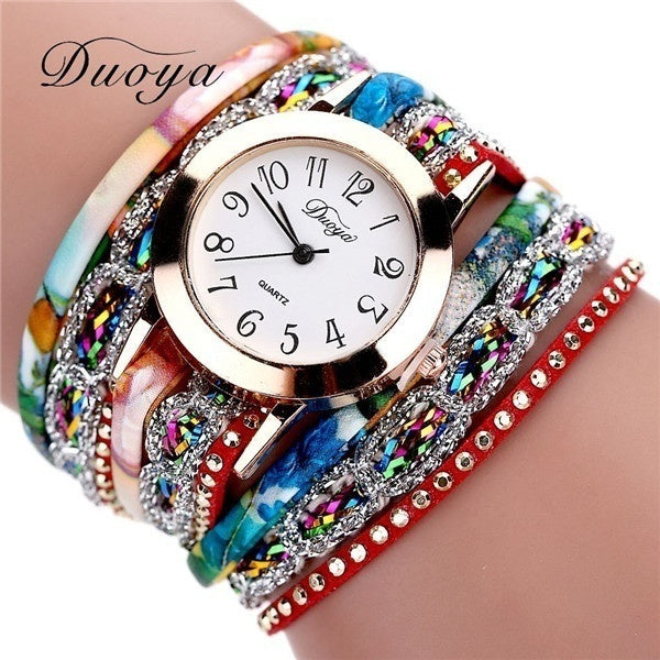 New Fashion Crystal Leather Strap Bracelet Watch Women Quartz Watch