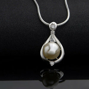 925 Silver Crystal Pearl Charm Pendant Necklace Chain Jewelry