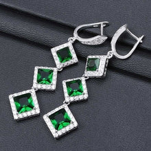 Load image into Gallery viewer, 925 Sterling Silver Natural Aquamarine Emerald & White Sapphire Gemstone Stud Hoop Dangle Earrings