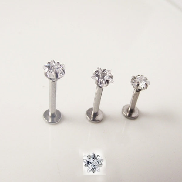 1 Piece 16G Labret Lip Ring Star Cubic Zircon Internally Threaded Prong Gem Monroe Tragus Helix Ear Piercing