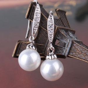 Elegant 925 Sterling Silver Plated Natural White Pearl Dangle Hook Earrings