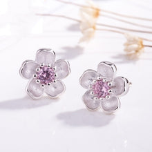 Load image into Gallery viewer, Silver 925 Sterling Silver Cherry Blossom Inlaid Pink Zircon Ear Studs