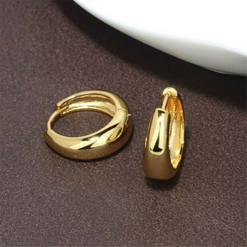 24K Yellow Gold Filled Thin Circle Hoop Earrings