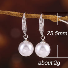 Load image into Gallery viewer, Elegant 925 Sterling Silver Plated Natural White Pearl Dangle Hook Earrings