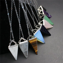 Load image into Gallery viewer, Natural Gemstone Crystal Quartz Healing Reiki Pendulum Pendant Chain Necklace
