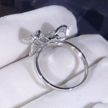 Load image into Gallery viewer, 925 Sterling Silver White Topaz Bow ladder Diamond Ring