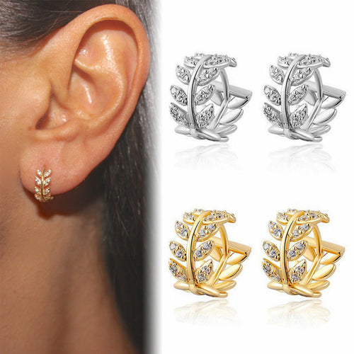 Fashion Small Leaves Crystal Hoop Earrings