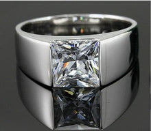 Load image into Gallery viewer, Men's Eternity 925 Silver Square Diamond Simulated CZ Stone Solitaire Ring