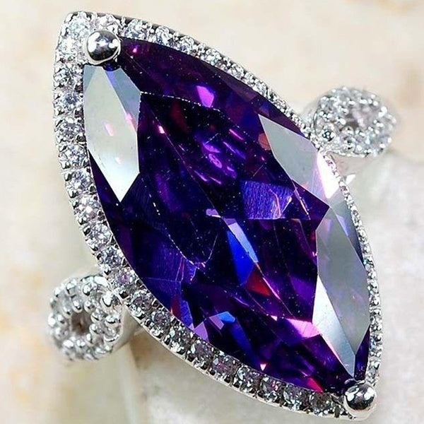 Exquisite 25 Sterling Silver Amethyst Gemstone Inlay Zircon Diamond Ring
