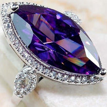 Load image into Gallery viewer, Exquisite 25 Sterling Silver Amethyst Gemstone Inlay Zircon Diamond Ring