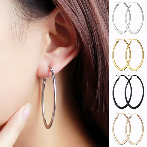 Elegant Stainless Steel Smooth Big Large Hoop Earrings Jewelry 40/50/60mm
