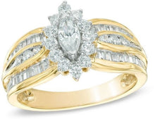 Load image into Gallery viewer, 18K Womens Ladies Elegant Big Yellow Gold 1.25CT Diamond Pave Ring